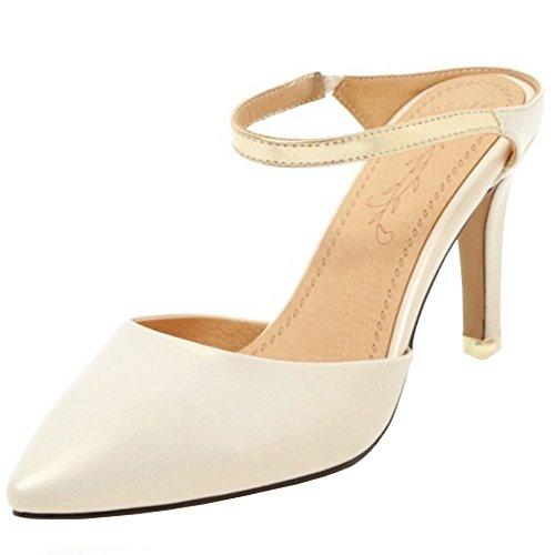 Coolcept Women Fashion Pointy Mules Sandals Beige bD8pNWRh