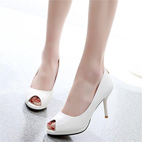 alti di pesce superficiale lavoro 39 8 scarpe scarpe professionisti primavera white solo pendolare bocca 10cm di bocca tacchi GTVERNH tallone q7tWnSZWR