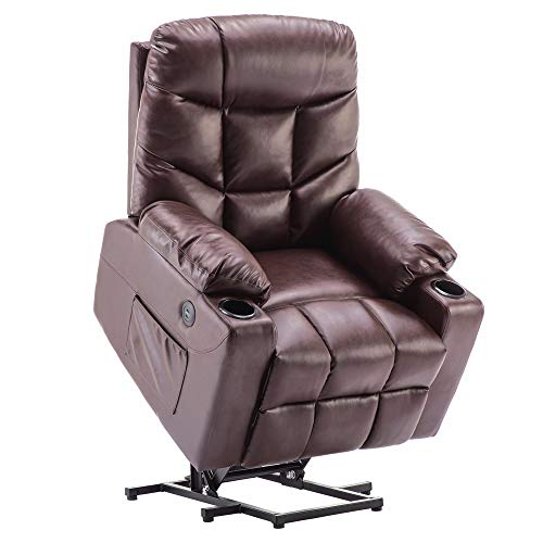 Power Lift Recliner Chair TUV Lift Motor Lounge w/Remote Control Dual USB Charging Ports Cup Holders Faux PU Leather Sofa 7288 (Dark Brown)