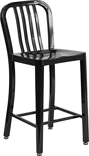 DiscountRoomDecor Premium Quality 24'' Black Metal Stool W/ Back CH-61200-24-BK-GG by Discount Room Décor