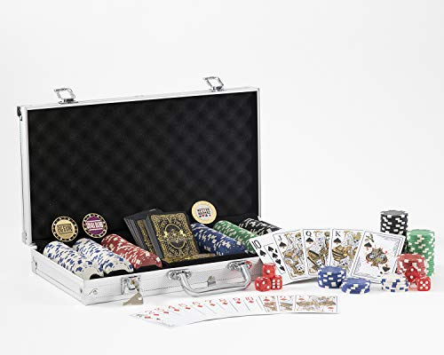 Premier 300 Piece Poker Chip Set Aluminum Carrying Case. Upgraded Dealer Blind Buttons. Original Dead Money Water Proof Playing Cards. Composite, Texas Holdem Dice. Prime Professional