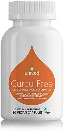 Unived Curcu-Free, Highest 'Free Unconjugated Curcuminoids Delivery', Patented CurQfen (Curcumin & Fenugreek), 500mg Curcumin, Water Based, Non-Nano, No Solvent, 60 Vegan Caps, 1 Daily, 2 Month Supply