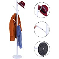 Coat Rack Hat Tree Stand Clothes Holder Umbrella Bag Hanger Hall Metal White