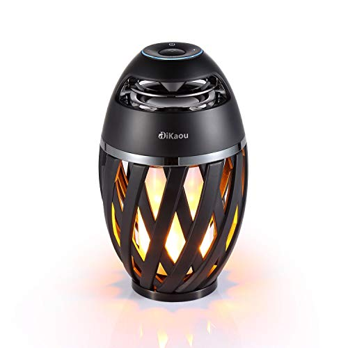 DIKAOU Led flame table lamp, Torch atmosphere Bluetooth speakers&Outdoor Portable Stereo Speaker with HD Audio and Enhanced Bass,LED flickers warm yellow lights BT4.2 for iPhone/iPad /Android ()
