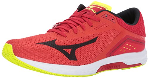 Mizuno Running Men's Wave Sonic Running Shoes Grenadine/Black/Safety Yellow, 8.5 D US ()
