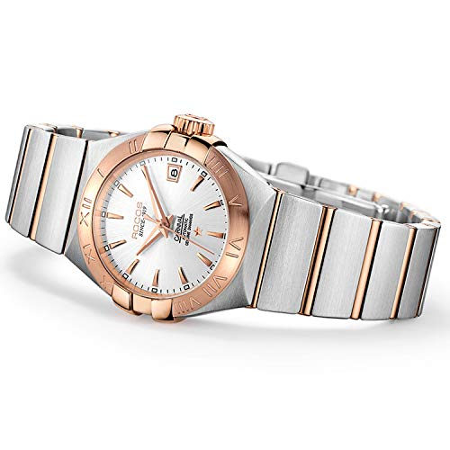 (Women's Wrist Watch ROCOS Rose Gold Dress Watch with Stainless Steel and White Dial Ladies Crystal Analog Watches Luxury Classic Elegant Gift #R1101L)