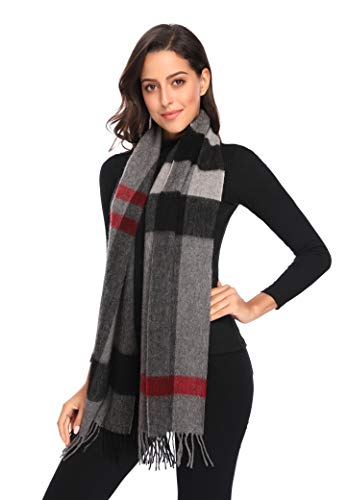 i+k 100% Pure Merino Lambswool Plaid Scarf for Women - Soft Wool Fashion Long Winter Warm Wrap with Gift Box (70.911.8, Plaid Gray)