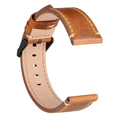 WOCCI Watch Bands - Saddle Style Vintage Leather Strap with Black Buckle - Belt Width (18mm,20mm or 22mm)