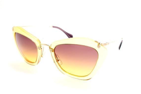 e4cf3d23e8e2 Image Unavailable. Image not available for. Color  Miu Miu 10NS PDA1F2 Glitter  Gold 10NS Noir Cats Eyes Sunglasses ...