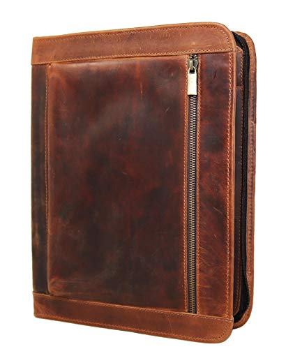 Handmade Genuine Leather Business Portfolio by Jaald | Professional Organizer Men & Women | Durable Leather Padfolio with Sleeves for documents & Notepad Compatible with Ipad pro 12.9