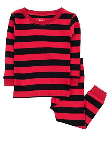 Striped Pants Pajama Flannel (Leveret Striped Kids & Toddler Boys Pajamas 2 Piece Pjs Set 100% Cotton (Size 5 Toddler, Red & Black))