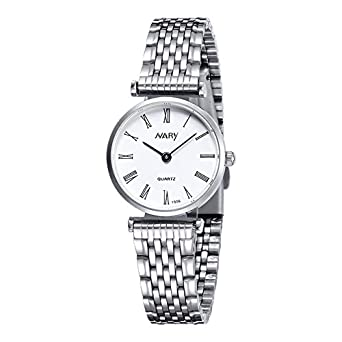 6bab1a14f96 Buy Nary Luxury Blazers Relogio Feminino Fashion Wrist Watch For Women -  White   Silver Online at Low Prices in India - Amazon.in