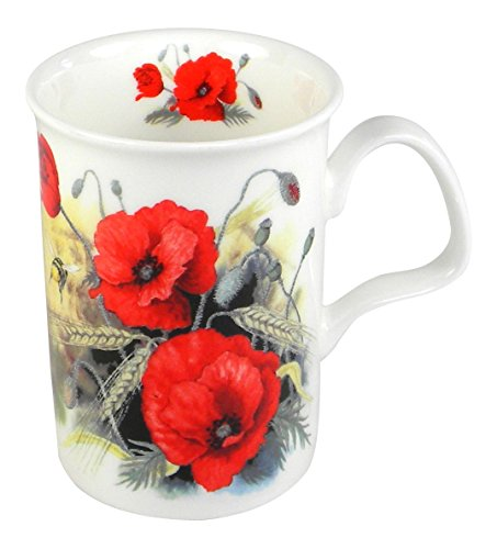 Roy Kirkham Red Poppy and Honey Bee Fine Bone China Coffee or Tea Mug