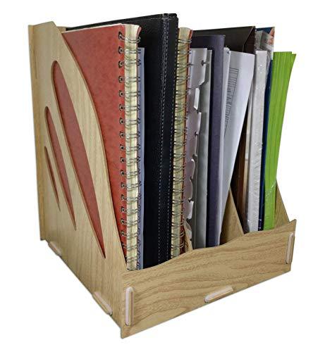 C&K Solutions Binder Holder Desk Organizer Sturdy Wood Office File Folder Desktop Storage Wood Grain