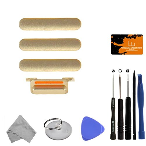 Button Set (Power, Volume Buttons, & Mute Switch) for Apple iPhone 7 (CDMA & GSM) (Gold) with Tool Kit by Wholesale Gadget Parts