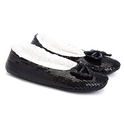 The Original Skidders Sequin Ballet Flats Slippers with Sherpa Lining Black W1OxUohjc
