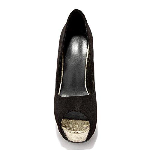 COOLCEPT Mujer Moda Tacon De Cuna Tacon Alto Bombas Zapatos Peep Toe Plataforma for Fiesta Negro
