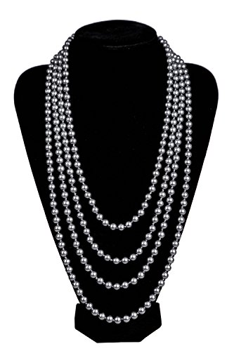 Kathyclassic 1920s Pearls Necklace Gatsby Accessories Vintage Costume Jewelry Faux Ivory Pearl Cream Long Necklace For Women (Grey Faux Pearl Necklace)