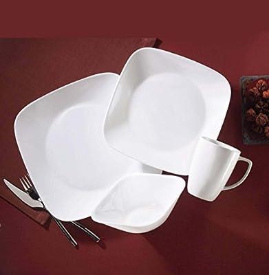 Corelle Square 32-Piece Dinnerware Set, Pure White, Service for 8