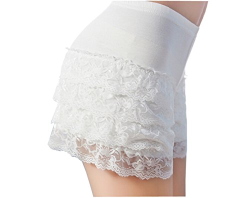 Women Ladies Stretchy Sexy Lace Trims Shorts Hot Pants Leggings Tights Modal Underwear Panty Underpants Slipshort (White Hot Pants)