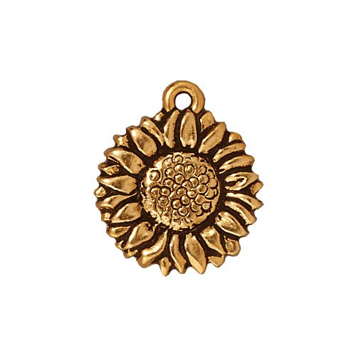 TierraCast 22K Gold Plated Pewter 2-Side Sunflower Charm 15mm ()