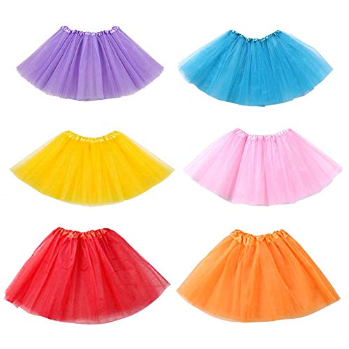 (Koogel 6 Pcs Multicolor Tutu Skirts,3-Layer Ballet Tutus)