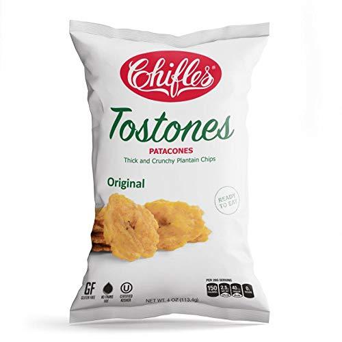Chifles Tostones - Patacones - Original 4 oz (1 pack) Thick & Crunchy Plantain Chips ()