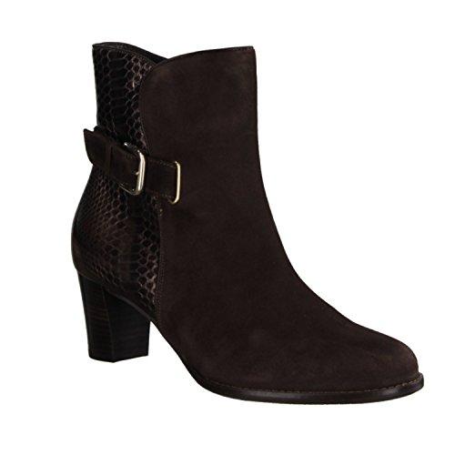 Hassia Bolzano 307046-207 - Zapatos de mujer de moda Botines, Marrón, cabra de terciopelo / cuero, altura de tacón: 50 mm