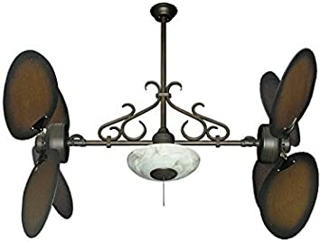 Dan S Fan City Twin Star Ii Double Ceiling Fan In Oil Rubbed Bronze With 50 Large Oval Blades In Distressed Walnut With Scroll Light With Remote Amazon Com
