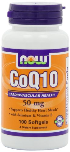 NOW Foods CoQ10 50 mg + Vit E, 100