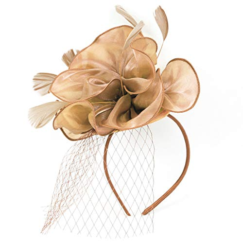 Sinamay Feather Fascinators Womens Pillbox Flower Derby Hat for Cocktail Ball Wedding Church Tea Party (Champagne ()