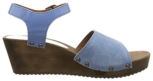 Sanita Edel Wedge Flex Sandal, Scarpe Col Tacco con Cinturino a T Donna Blau (Blue)