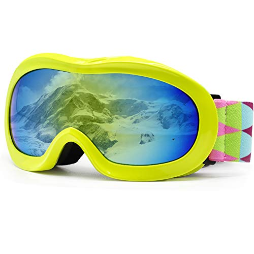 picador Kids Ski Goggles with Excellent Impact Resistance Anti-Fog Lens 100% UV Protection for Boys & Girls (Yellow)