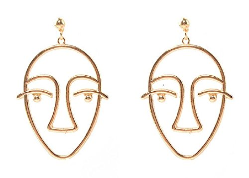 SUNSCSC Dangle Stud Earrings Unique Vintage Hollow Out Human Face Design Gold Silver Ear Drop Jewelry