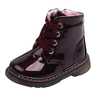 Botas Militares para Unisex Bebé Niños Niñas Otoño Invierno 2018 Moda PAOLIAN Botines de Agua Planos con Cordones Zapatos Primeros Pasos para Niñas ...