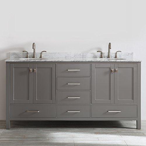 Marble Top Double Bathroom Vanity (Vinnova 723072-GR-CA-NM Gela 72