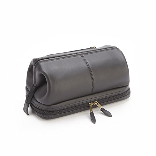 Royce Leather Royce 100% Leather Toiletry Bag with Zippered Bottom Compartment 0K996Xo