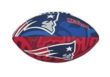 Wilson WTF1534XBNE Pelota de fútbol Americano NFL JR Team New England Patriots Material Compuesto, para niños, Azul/Rojo, Junior