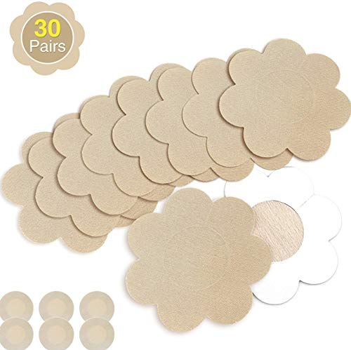 Nipple Breast Covers, Sexy Breast Pasties Adhesive Bra Disposable (30 Pairs Flower/3 Round)