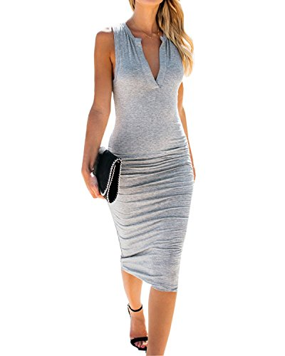 AELSON Womens Sleeveless V Neck Ruched Bodycon Midi Tank Dress