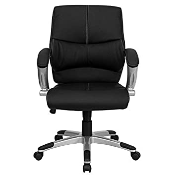 Flash Furniture Mid-Back Black Leather Contemporary Swivel Manager s Chair with Arms
