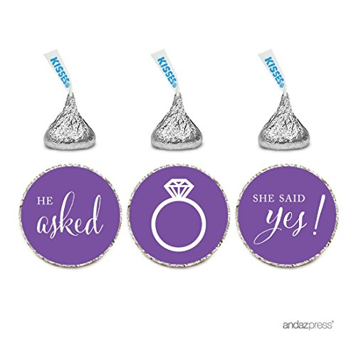 Andaz Press Chocolate Drop Labels Stickers, Wedding He Asked She Said Yes!, Royal Purple, 216-Pack, For Bridal Shower Engagement Hershey's Kisses Party Favors Decor