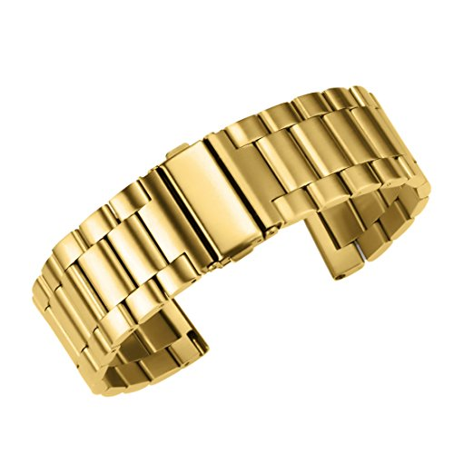 24mm Deluxe Interchangeable Watch Belt Gold Stainless Steel Belt Watch Strap Solid Link Straight End by autulet (Image #6)