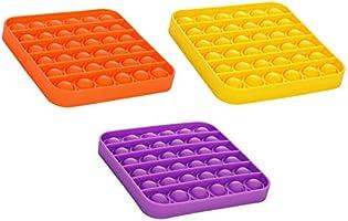 SINROBO 3PCS Push pop Bubble Fidget Sensory Toy,Autism Special Needs Stress Reliever, Silicone bop it Game,Squeeze Fidget...