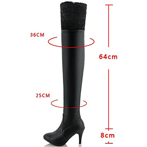 By PU Casual Leather Black Boots Fall Thigh Winter High Heel The Zipper BIGTREE Knee High Over Lace Boots Women Xxpwwtqa