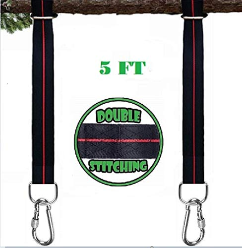 Tree Swing Hanging Straps Kit Holds 2400 Lbs 5 Ft Extra Long Polyester Kit | Sturdy Double Stitched Edges Hammocks Safety Lock Carabiners Carry Easy Fast Installation for Camping Trips Ideal Gift Idea