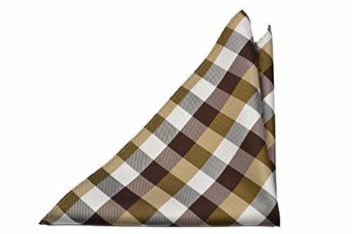 Notch Men's Silk Pocket Square - LUKA - Checked pattern in brown and - Square Pocket Checked Pattern