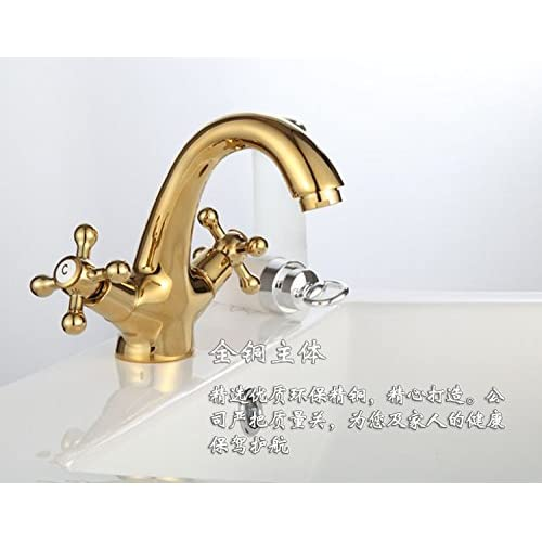outlet SBWYLT-Gold-plated lavatory faucet brass faucet hot and cold continental antique faucet