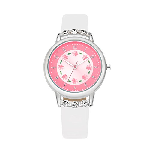 Kids Time Teacher Wrist Watch Student Analog PU Band Watches White