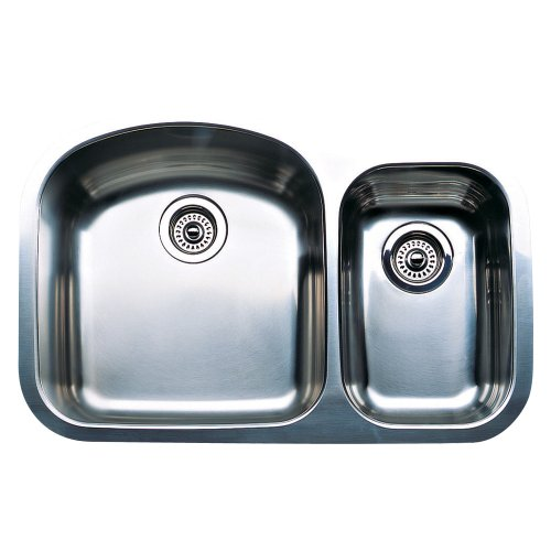 Blanco 440167 Wave Plus 1-1/2 Bowl Undermount Kitchen Sink, Satin Polished (1 1/2 Bowl Undermount Sink)